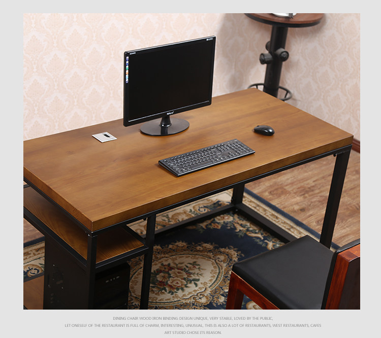 American Iron Wood Desktop Computer Desk Office Tables And