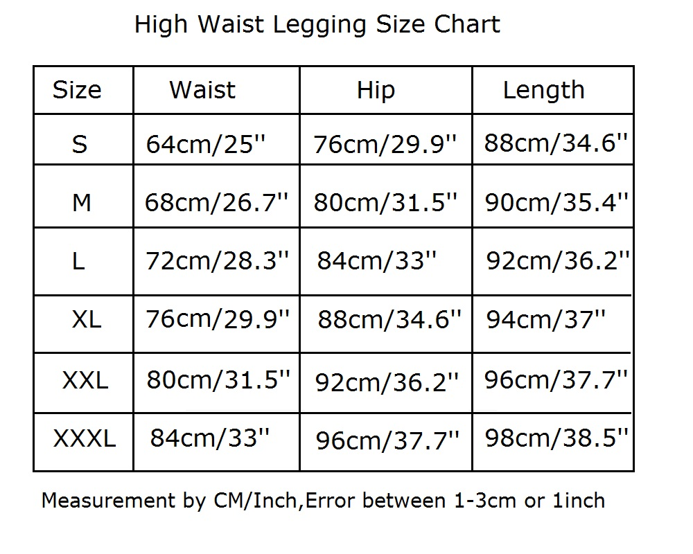 High Waist Legging size chart Production size