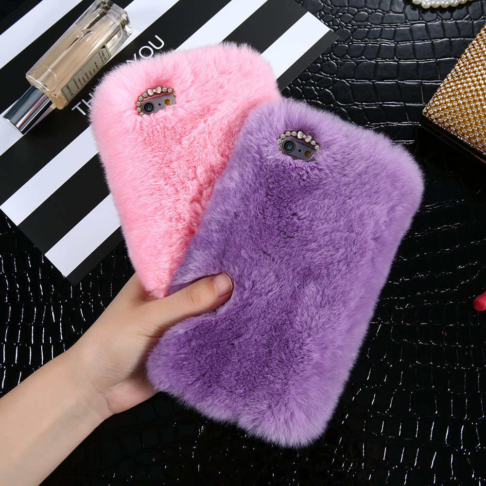 i7/ Note 7 Genuine Rabbit Fur Case For iPhone 6 6S 4.7 For iPhone 6 Plus / 6S Plus Fluffy Diamond Bling Back Cover Fashion Women
