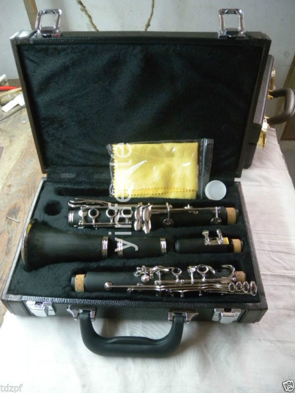 New Professional CLARINET Ebonite Nickel Plated Key Bb Key 17 key professional new silver plated trumpet bb keys with monel valves horn case