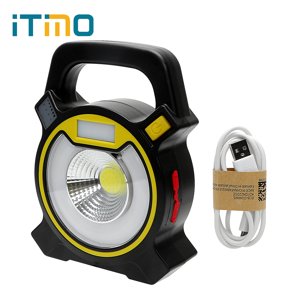 iTimo COB LED Tent Light Emergency Lamp Portable Lantern Floodlight 18650 Battery Powered Flashlight for Camping Hiking 4 Modes