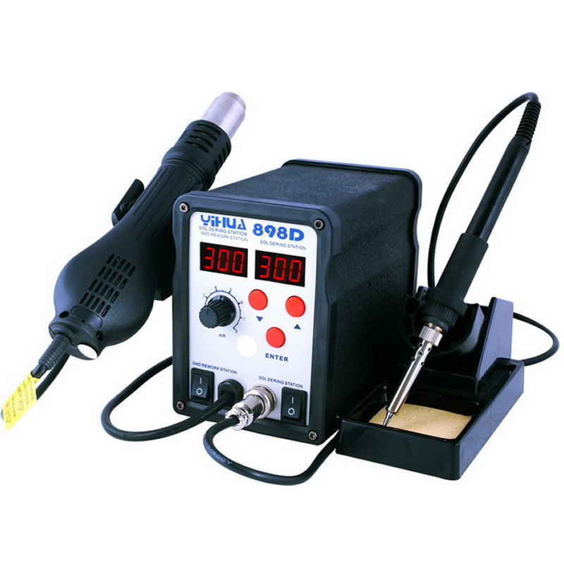 YIHUA 898D SMD Soldering station rework machine with hot air gun solder iron 2 in 1 yihua 898d 750w heat air gun soldering station solder iron free gift tweezers
