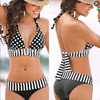 Brazilian Retro Polka Dot Halter Two-piece Suits Bra Bikinis Set Stripe Bathing Suit Swimwear Plus Size S-4XL 1