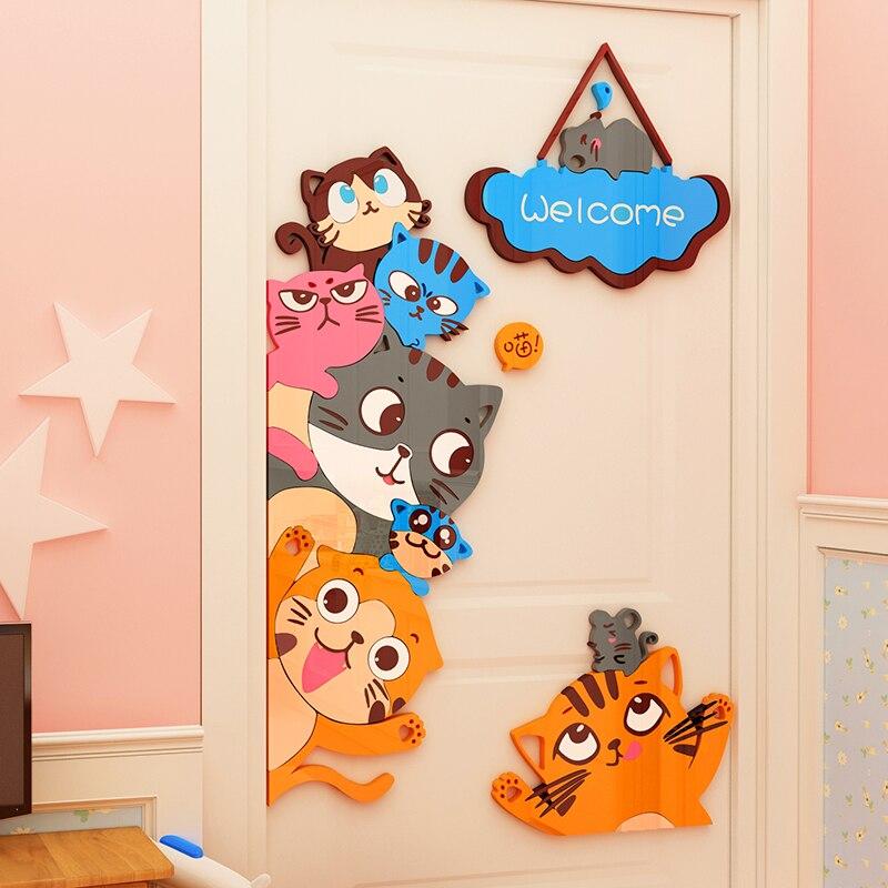 Dessin animé chat enfant chambre porte autocollant 3d auto-adhésif papier peint maternelle acrylique décoration murale peinture porte autocollant