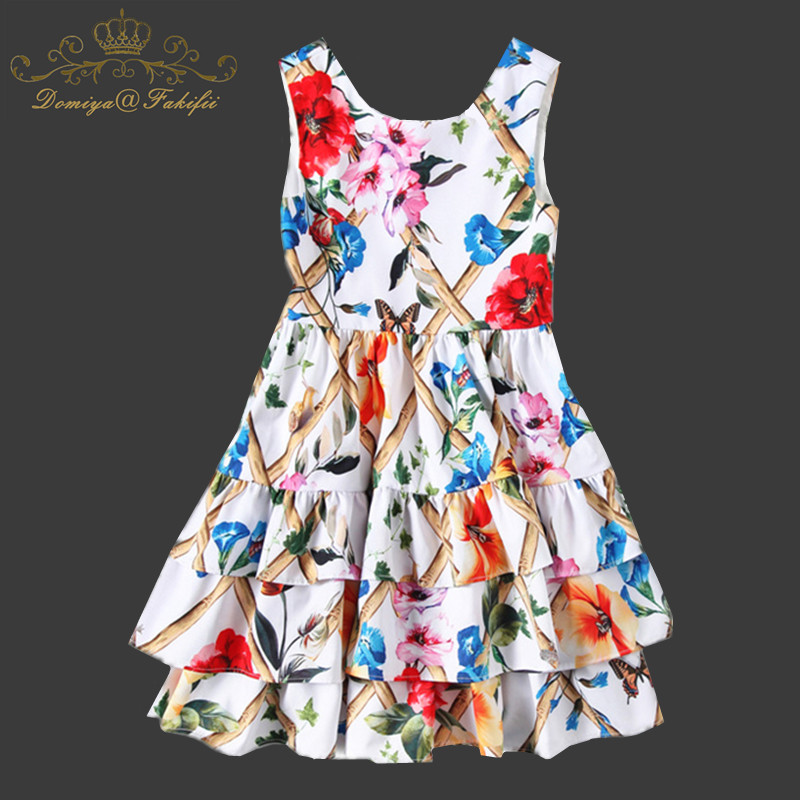 2018 Brand Fashion Summer New Girls Dress Floral Print Princess Dresses For Baby Girls Designer Wedding Party Dress Kids Clothes стоимость