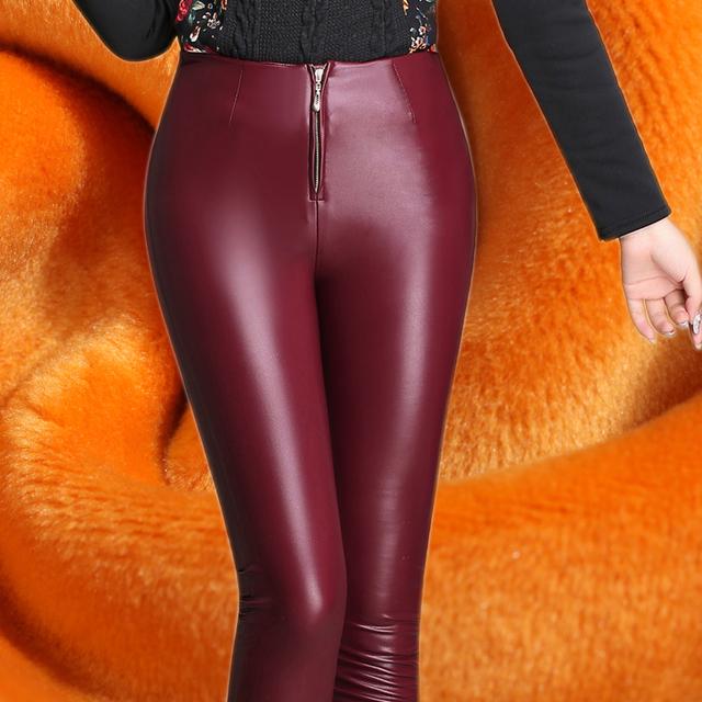 Mujer Pantalones De invierno 2016 Cálido, Además de Terciopelo Grueso Cuero de LA PU pantalones Yardas Grandes Delgado Cremallera Pantalones Elásticos Pies Pantalones Mujer pantalones