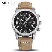 Megir Mode Sport Horloge Mannen Luxe Merk Mannen Quartz Horloges Chronogragph Klok Lederen Band Militaire Polshorloge 2026
