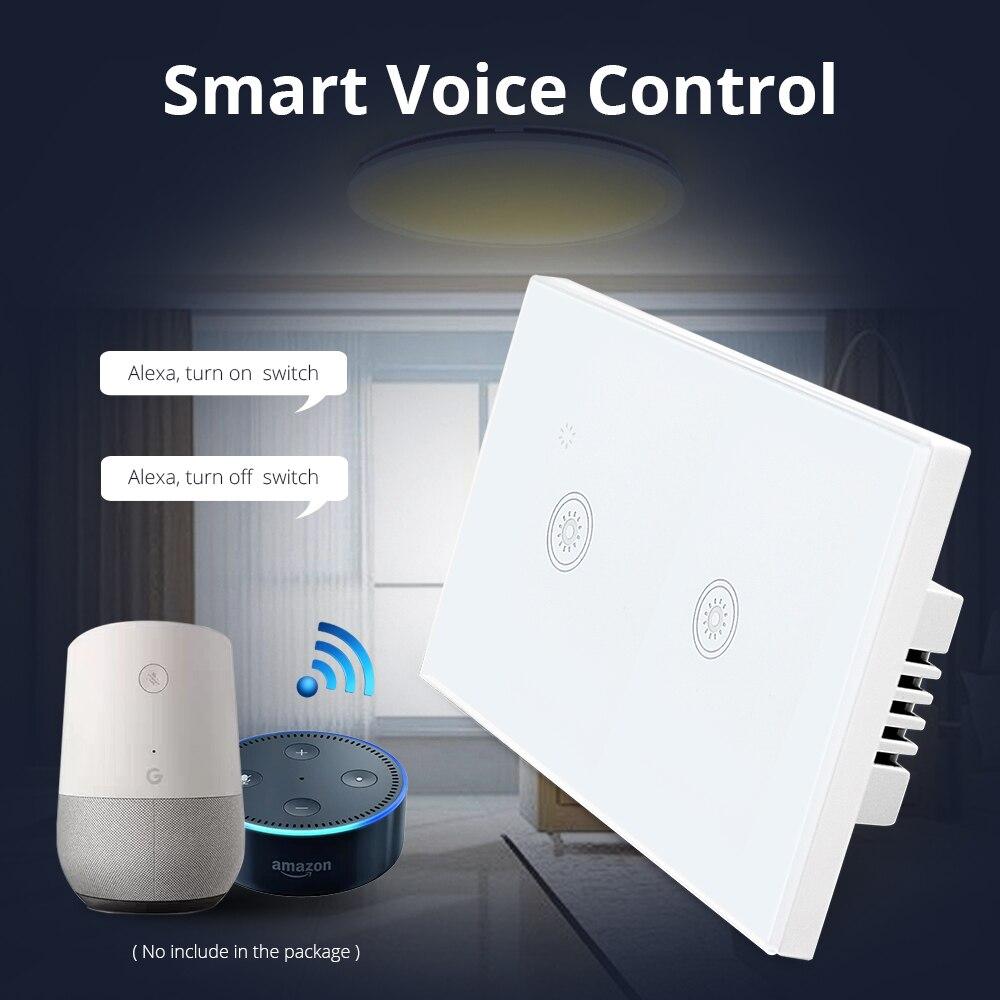 Nos es 1 2 bandas 3 pandillas Wifi pared cambiar de trabajo con Alexa directamente casa inteligente luz de Control remoto panel de Control a través de APP