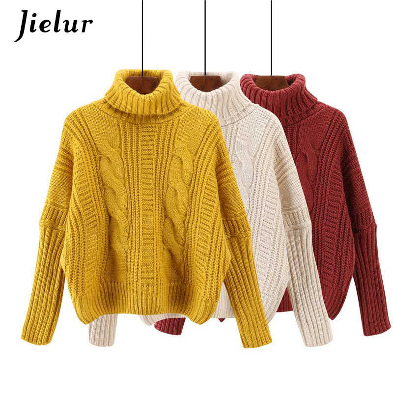 836ce7032 Jielur 6 Solid Color Harajuku Turtleneck Sweater Chic Winter Woman Sweater  Knitting Pullovers Yellow White Basic