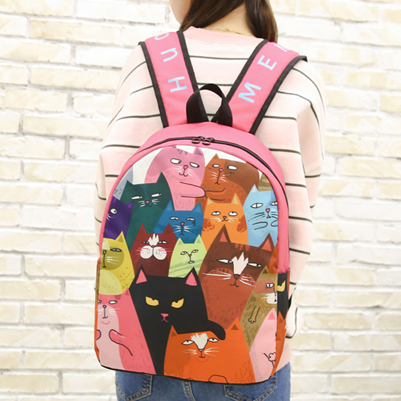 Korean Harajuku Canvas Backpack Junior high school students School Bag Girl Japanese Style Bag Kawaii Cartoon