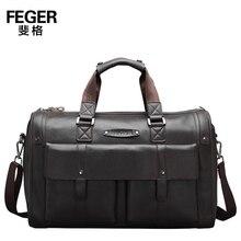 FEGER Brand Dark Brown Genuine Leather Handbag Super Large Capacity Men's Business Travel Duffle Bag