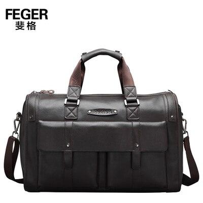 Feger marca dark brown bolso de cuero genuino super gran capacidad duffle del recorrido del bolso del negocio de los hombres