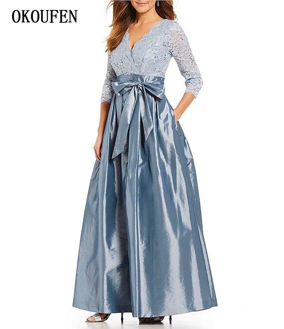 Mother Of The Bride Dresses 2019 Women Formal Party Gowns Taffeta Lace 3/4 Sleeve V-Neck Sash Kurti Vestidos De Madrinha Farsali