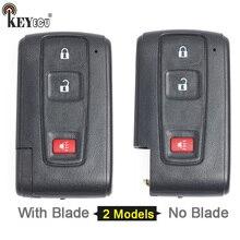 KEYECU Toyota Prius para Substituição Inteligente Remoto Shell Chave Do Carro Caso Fob 2 + 1 Botão Com/Sem Sem Cortes lâmina (Apenas Shell)