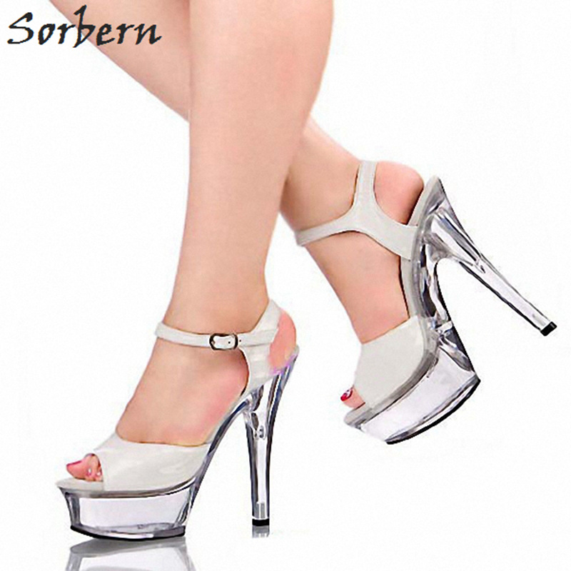 argent Cheville Color Mode Plate Couleur Talons custom Noir Sandales Sangle Party blanc rouge 10 Made Summer Femme Sorbern Chaussures Pour forme Custom Transparent Taille De qFwgA