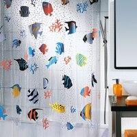 Pvc plastic bathroom spirella curtain transparent shower curtain waterproof thickening Underwater World children shower curtain