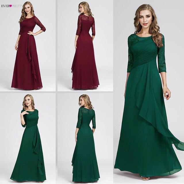 Plus Size Prom Dresses 2020 Elegant Half Sleeve O-neck Burgundy A-line Sexy Chiffon Lace Appliques Cheap Vestidos De Festa 2