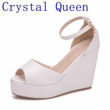 Rainha de cristal Boêmio Cunhas Mulheres Sandálias Para Calçados femininos De Alta Plataforma Superior Do Dedo Do Pé Aberto Branco Pu High Heel Bombas Cunhas