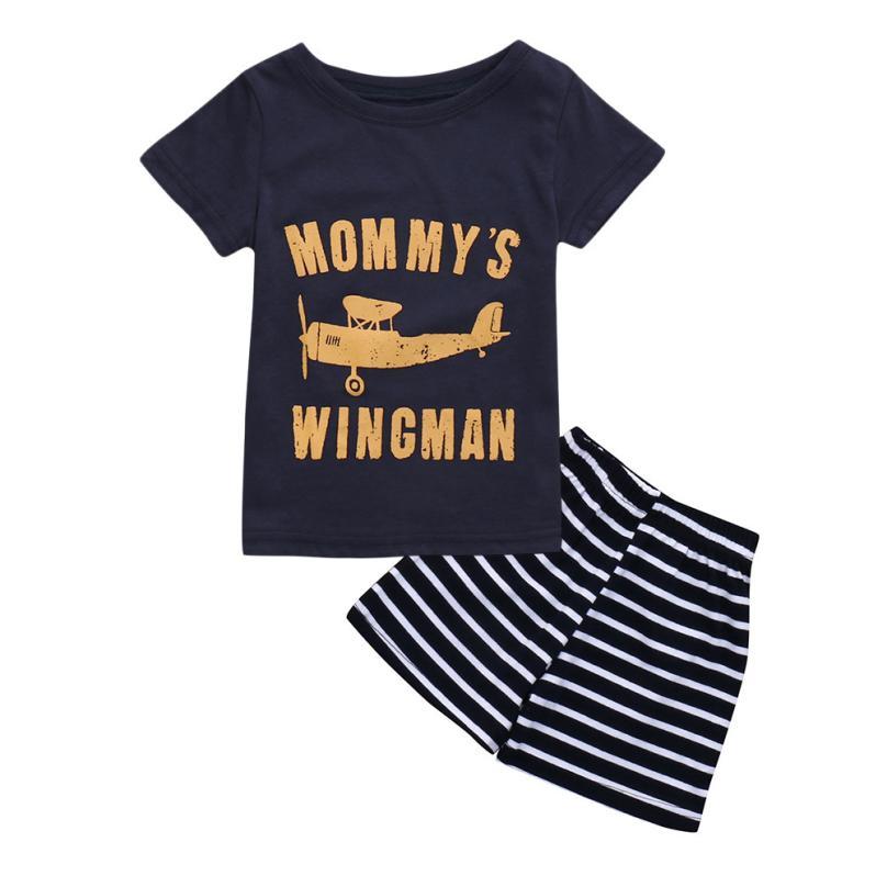 cute Toddler Kids Baby Boys Cartoon Print T Shirt Tops Striped Shorts Outfits Set 5.16
