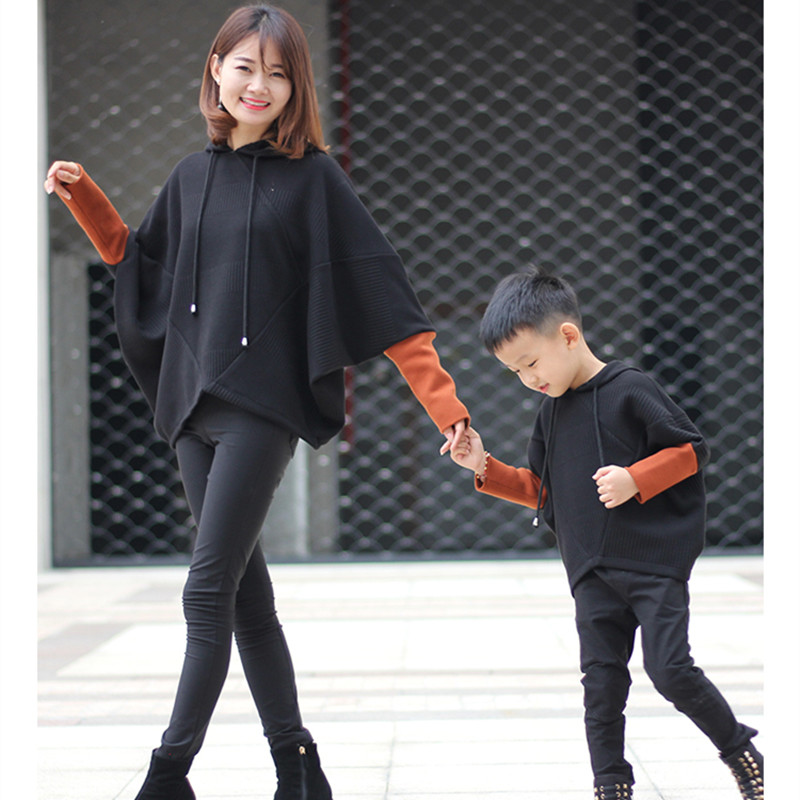 Caramel cuff patchwork black hooded knit sweater jacket mother daughter clothes mom & son caramel cuff block black outerwear hot v neckline fur cuff sweater