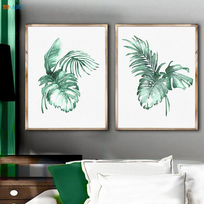 ⓪Enmarcado lienzo impreso acuarela hojas de palma plátano arte ...
