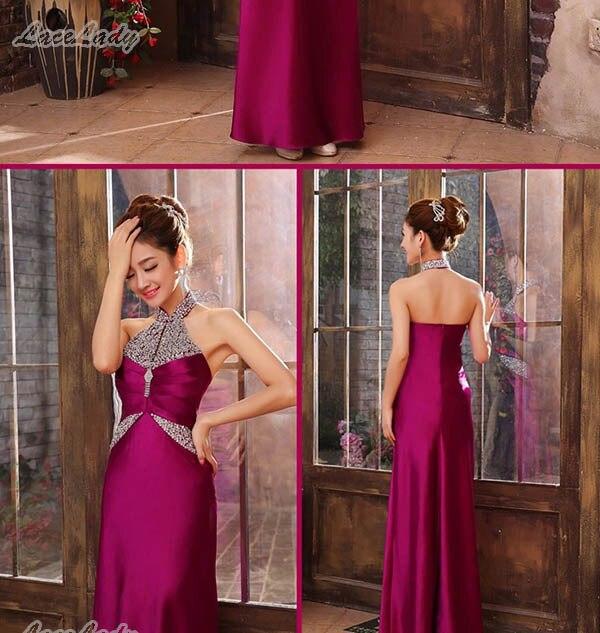 Новинка, модное, на заказ, элегантное, длина до пола, вечерние платья, прямое, с лямкой через шею, женское, длинное, торжественное платье, цена, LF27 - Цвет: Purple