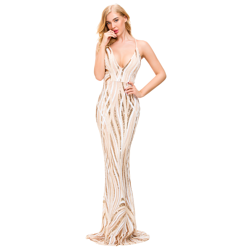 Sexy Beige Black Strpied Sequined Evening Party Dress Bodycon Maxi Dress  Deep V Neck Floor Length Party Dress Elegant-in Dresses from Women s  Clothing on ... d0a446c8b692
