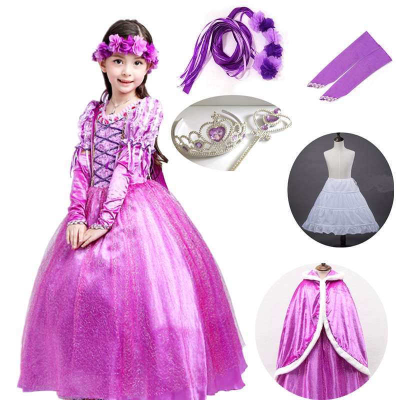 Kids Girls Princess Sofia Rapunzel Long Dress Cosplay Halloween Party Costume