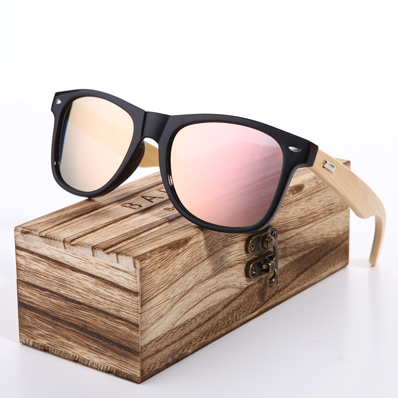 BARCUR 2018 Pink Sunglasses Wood Bamboo