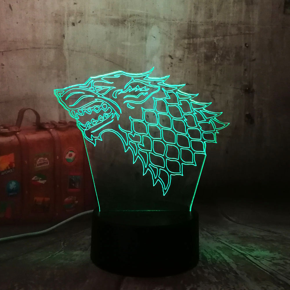 Game of Thrones Cool Stark Wolf A Song of Ice and Fire 7 Colors Changing LED Night Light Sleep Bedroom Decor Lamp Man Boys Gift jingu game of thrones notebooks vintage hardcover notebook for gift movie a song of ice and fire a5 size day planner