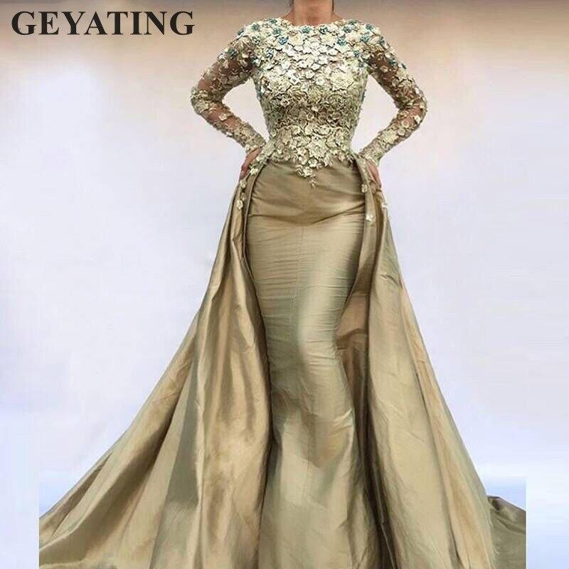 Saudi Arabic Mermaid Evening Dress Long Sleeves 2019 Elegant Kaftan Dubai Moroccan Prom Dresses with Overskirt Train Party Gown