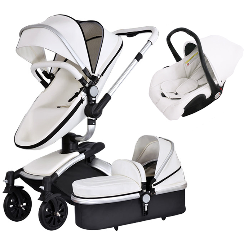 3 in 1 baby stroller high quality newborn baby strollers 2 in 1  leather stroller   3 in 1 baby pram foldable baby  carriage free 3 in 1 baby strollers light baby car sleeping basket newborn baby carriage 0 36 months europe baby pram carriage five color