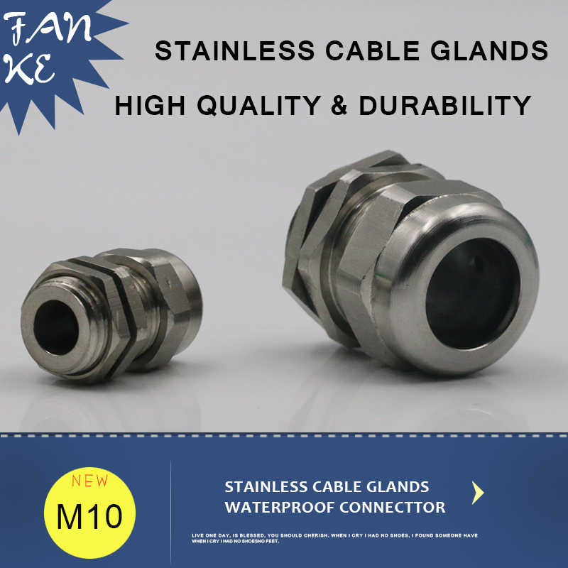 1 piece Kabel Gland M10 * 1.5 Stainless Steel Tali Kawat Konektor IP68 Kabel Grips dan Strain Relief Fitting Untuk 3-6.5mm