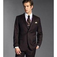 New Time limited Custom Made Groomsmen Notch Lapel Groom Tuxedos Chocolate Mens Suits Wedding Best Man (jacket+pants) B801