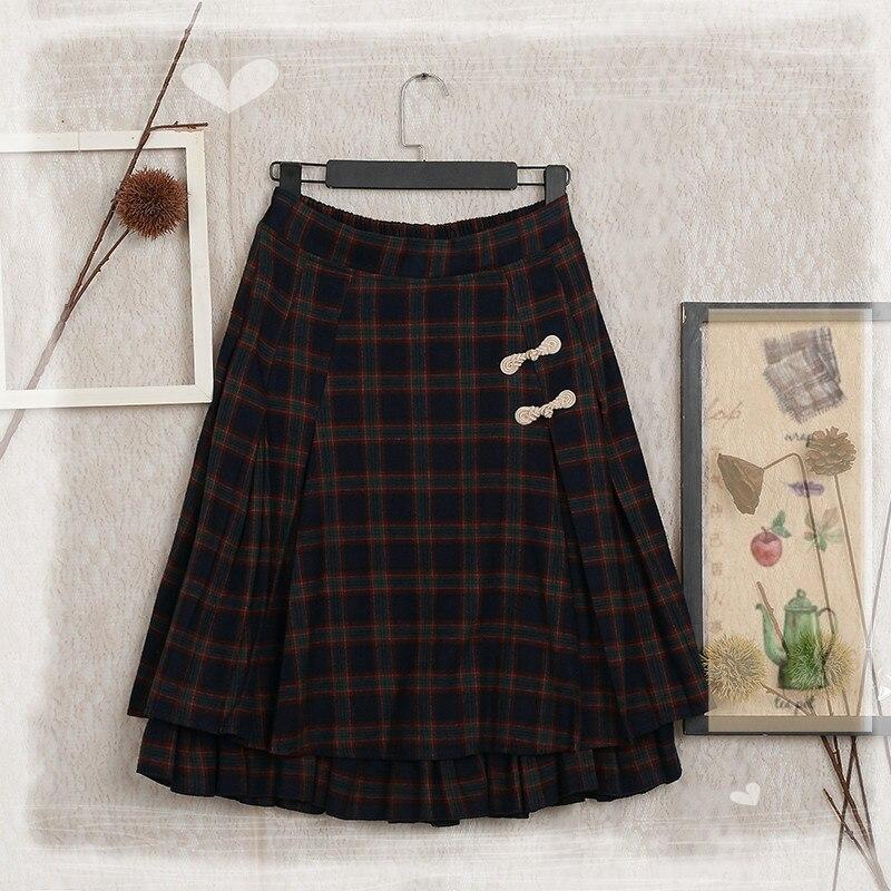 Japonais Mori fille Vintage rétro bohème Plaid rétro Boutique femmes vêtements broderie élastique Double couche taille coton jupe
