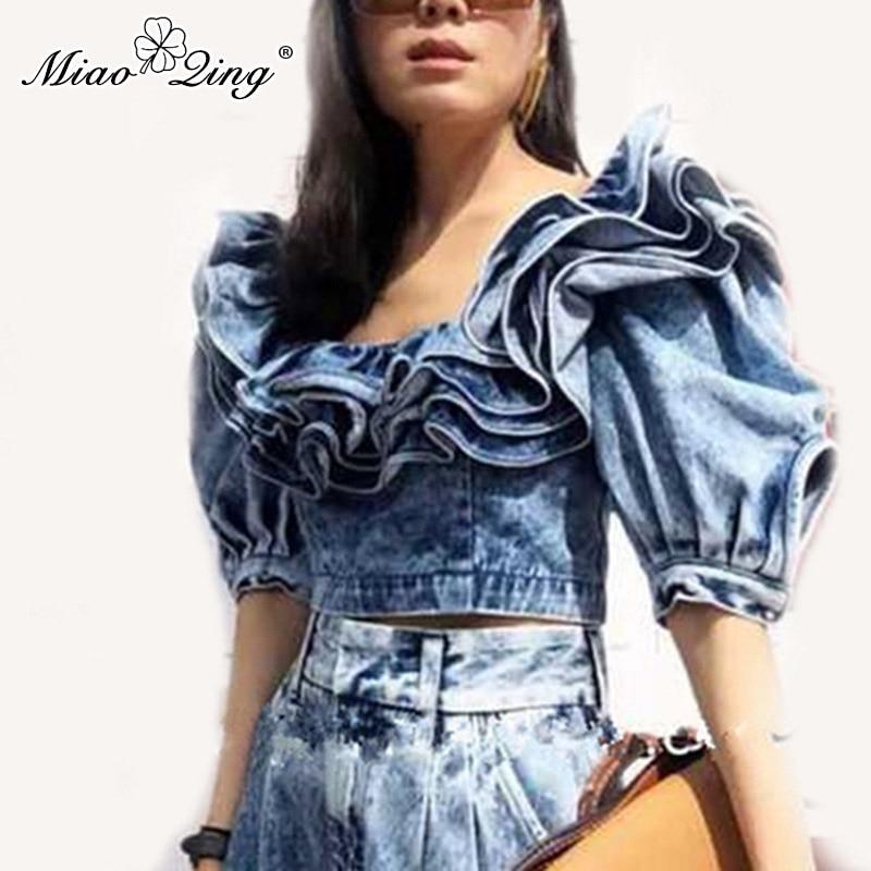 MIAOQING blouse en denim à volants pour femmes avec manches à bulles, col carré et blouse sexy pour femmes été 2019 mode nouveau look