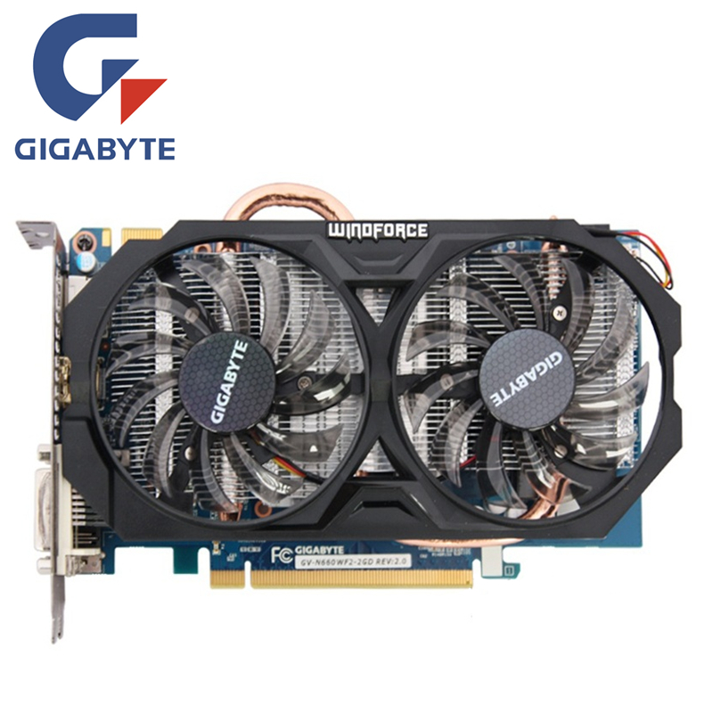 GIGABYTE GV-N660WF2-2GD Carte Vidéo 192Bit GDDR5 GTX 660 N660 Rev.2.0 Cartes Graphiques pour nVIDIA Geforce GTX 660 Hdmi Dvi Cartes