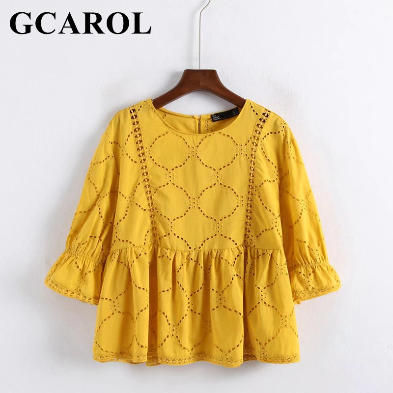 Gcarol 2018 Euro Style Women Hollow Out Crochet Lace Blouse 34