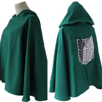 Anime Shingeki no Kyojin Attack on Titan Cosplay Costume Cloak Cape S/M/L/XL New Free Shipping