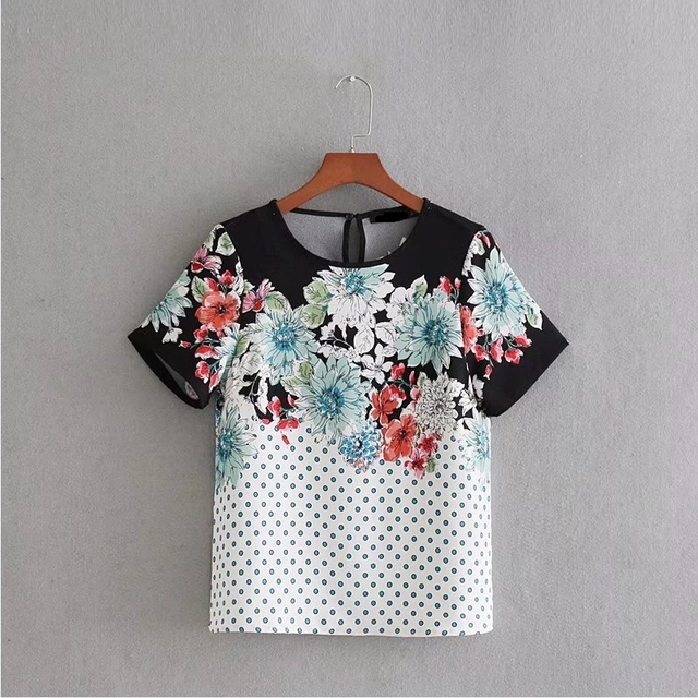 b8b2272599193 US $7.54 9% OFF|2018 New Women vintage short sleeve position floral print  dots kimono Blouses o neck Shirts women casual slim femme Tops LS1953-in ...