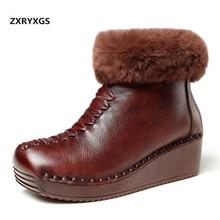 c4ad2ce38 Noble Real decoración piel 100% Natural de cuero genuino botas de mujer  botas 2019 nuevo