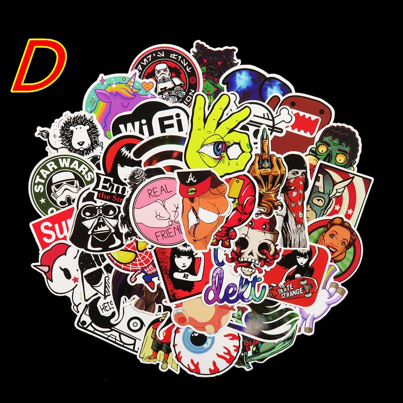 50Pcs/Lot 10 Types Pvc Waterproof Fashion Personality Sticker For Laptop Motorcycle Skateboard Luggage Guitar Car Sticker bomb