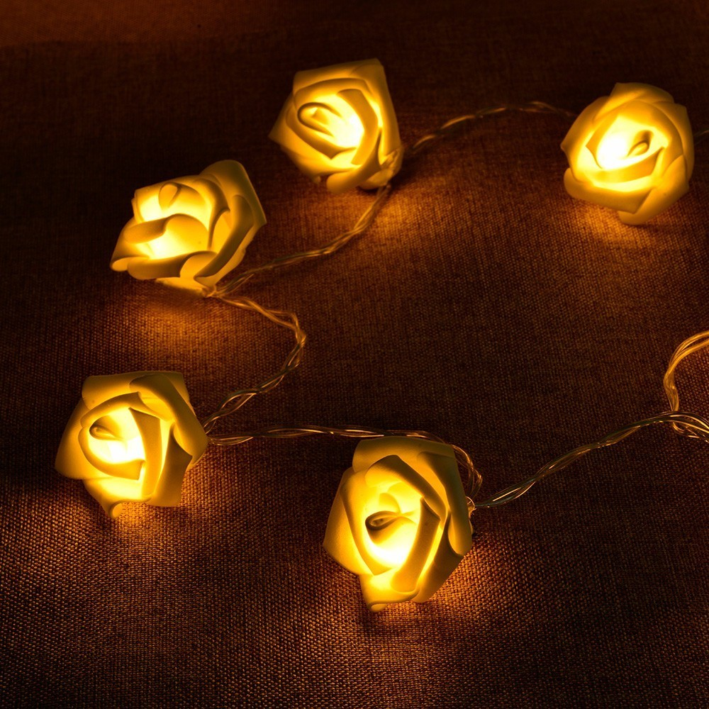 premium selection 57352 d3e49 US $3.94 40% OFF|2.2M String Lights 20 Led Rose Flower Garland Wreath  Bright Warm LED Lamp Fairy Light Wedding Gardens Party Christmas  Decoration-in ...