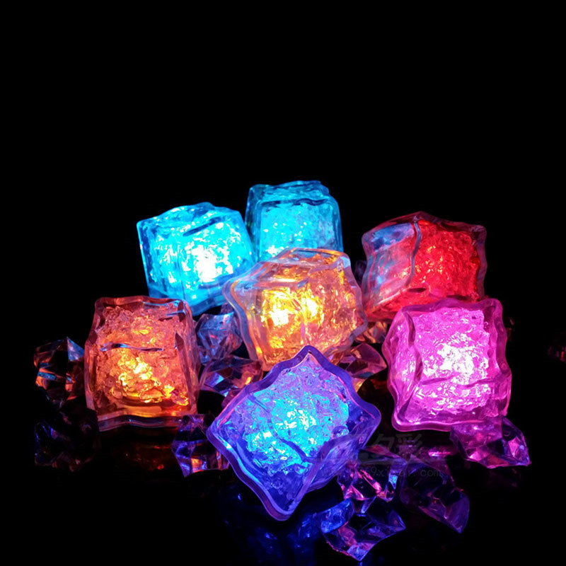 12Pcs/lot Navpeak LED Ice Cube Fast Flash Slow Flash 7 Color Auto Changing Crystal Cube For Valentine's Day Party Wedding