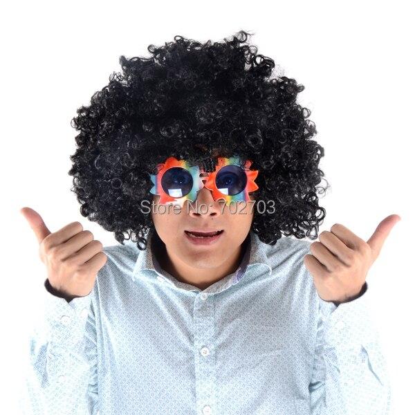 Puchar Świata Halloween cosplay akcesoria Czarna krótka kręcona peruka afro