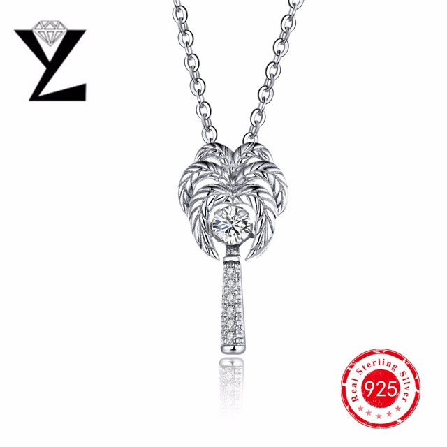 Personalized 925 sterling silver coconut palm tree pendant with personalized 925 sterling silver coconut palm tree pendant with dancing stone chain necklace for women femme aloadofball Images