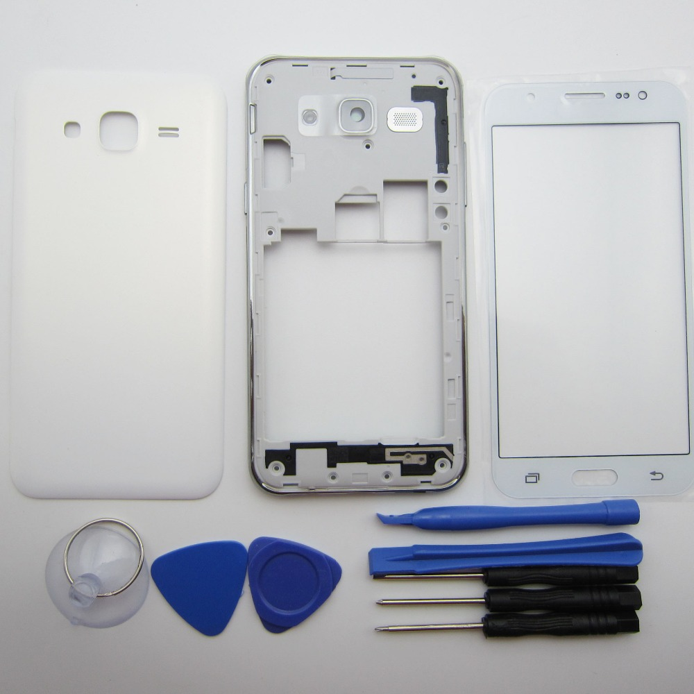 Full Housing Case For Samsung Galaxy J7 2015 J700 SM-J700 Middle Frame Bezel+ Back cover + Outer glass + tools + adhesive
