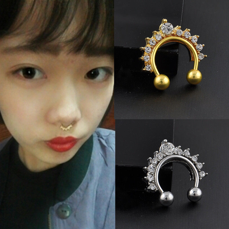 Silver Gold Crown Pierced Rhinstone Nose Ring Fake Clip Non