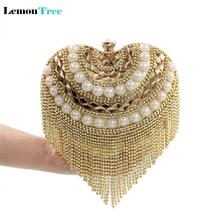 Heart shaped rhinestones gold clutch purses vintage beaded evening bags women tassel diamond handbag wedding bridal mochila CTT6