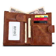 Genuine Cow Leather Men Wallets Three Bifold Rfid Magic Wallet Credit Card Holders Male Clutch Hasp Solid coin Purse carteira realer wallets for women genuine leather long purse female clutch with wristlet strap bifold credit card holders rfid blocking